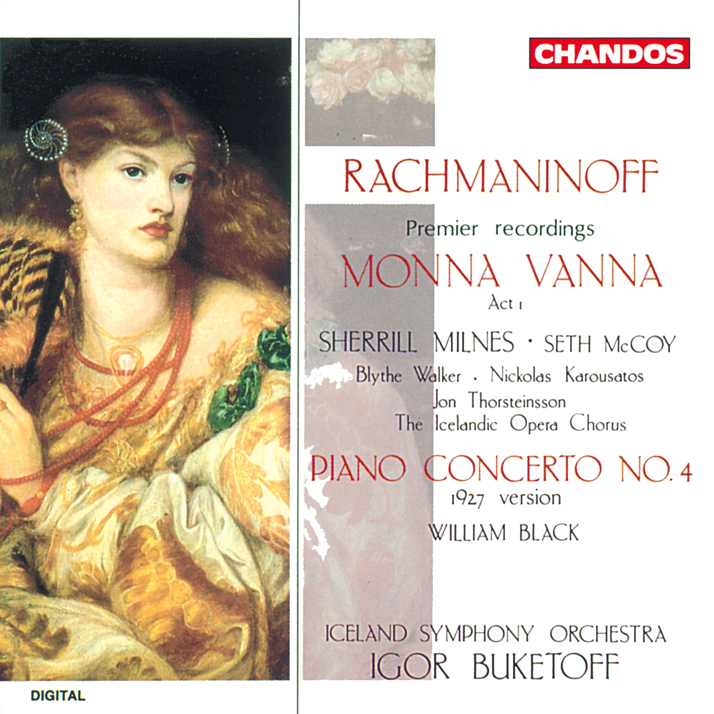 Rachmaninoff - Milnes, McCoy, Walker, Karousatos, Thorsteinsson, William Black, Igor Buketoff Monna Vanna / Piano Concerto No. 4 CD