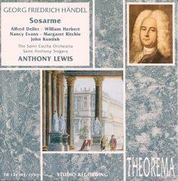 Handel - Deller, Herbert, Evans, Ritchie, Kentish, Anthony Lewis Sosarme Vinyl
