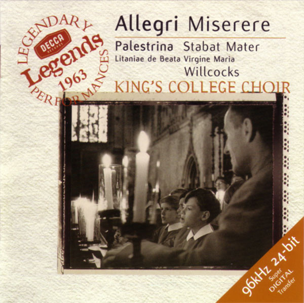 Allegri - Palestrina, Willcocks, King's College Choir Miserere, Etc. CD