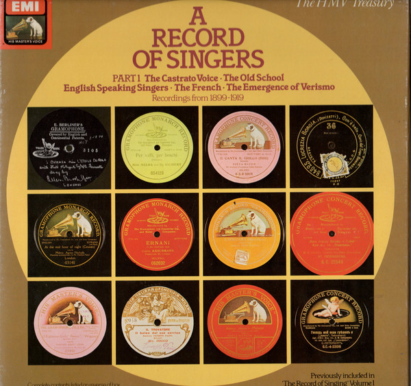 Various A Record Of Singers - Part 1 - Recordings From 1899-1919 Vinyl