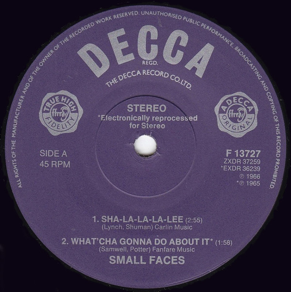 Small Faces Sha-La-La-La-Lee / What'cha Gonna Do About It / All Or Nothing