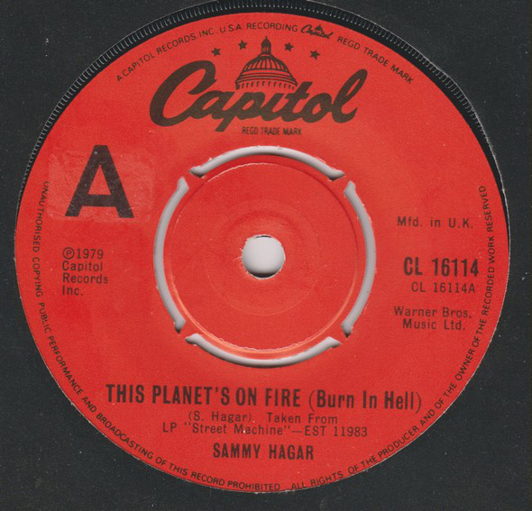 Hagar, Sammy This Planet's On Fire (Burn In Hell) Vinyl