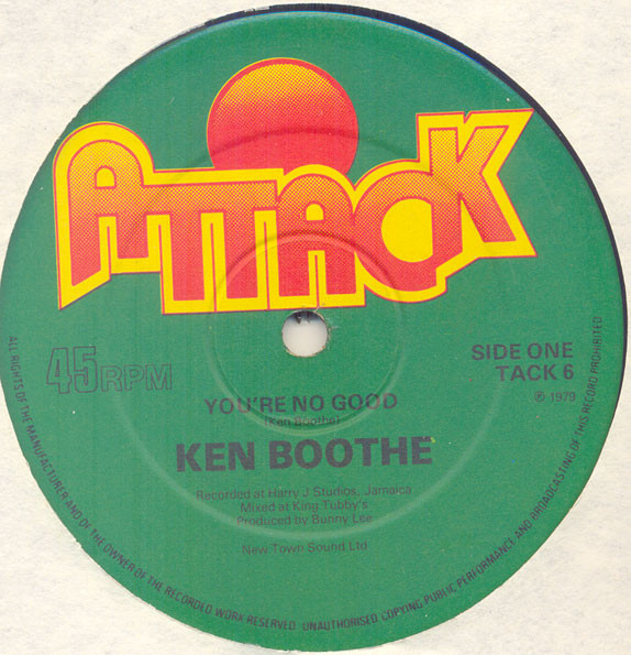 Ken Boothe / Prince Jammy & The Aggrovators You're No Good / Out Of Order Dub Vinyl