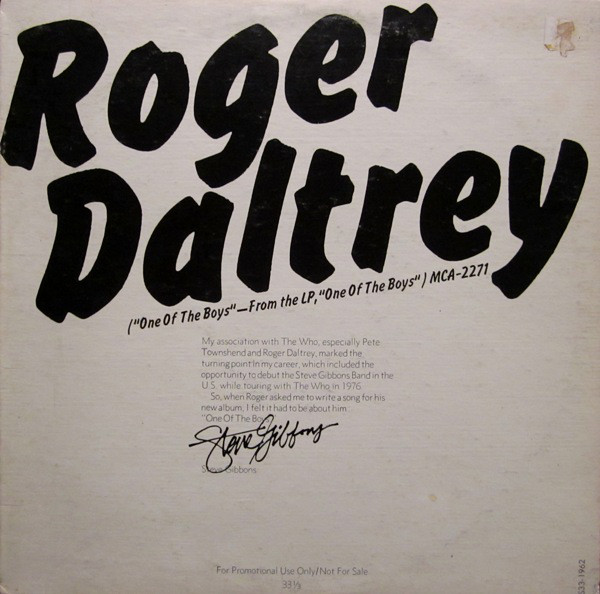 Daltrey, Roger One Of The Boys Vinyl