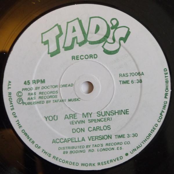 Don Carlos You Are My Sunshine Vinyl