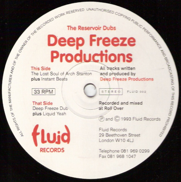 Deep Freeze Productions The Reservoir Dubs Vinyl