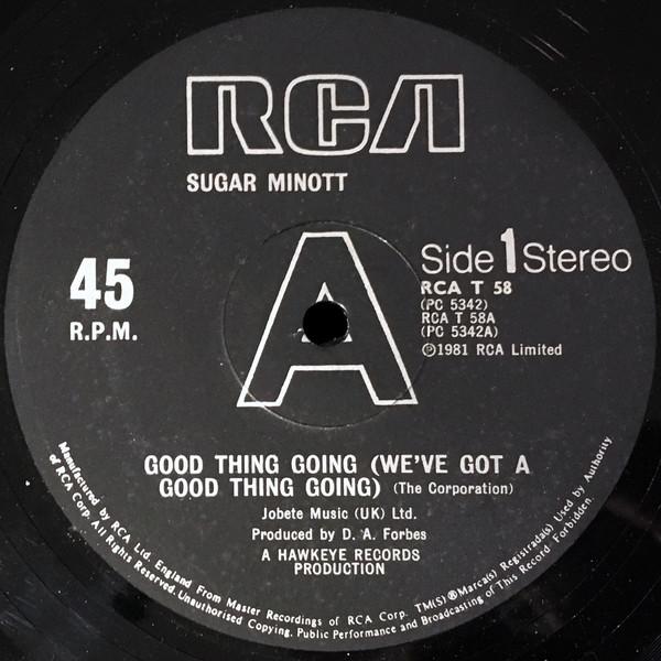 Minott, Sugar Good Thing Going (We've Got A Good Thing Going) / Bad Things Vinyl