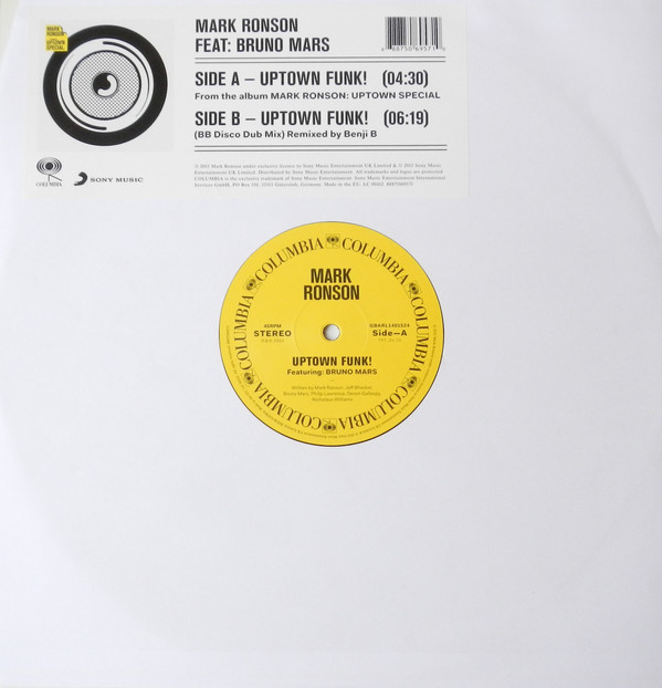 Mark Ronson Feat: Bruno Mars Uptown Funk! Vinyl