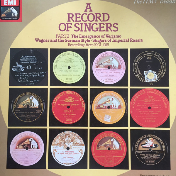 Various A Record Of Singers - Part 2 - Recordings From 1901-1916 Vinyl