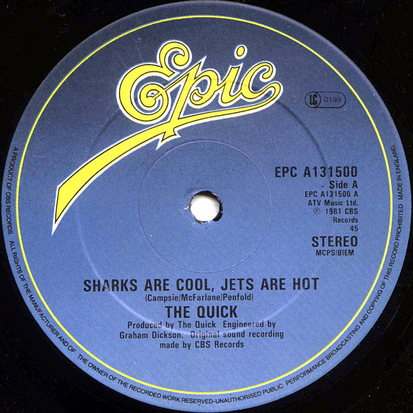 The Quick Sharks Are Cool, Jets Are Hot / Killed In A Crush On You Vinyl