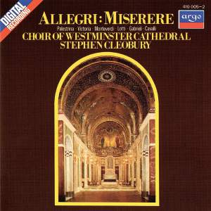 Allegri - Choir Of Westminster Cathedral, Stephen Cleobury Miserere CD