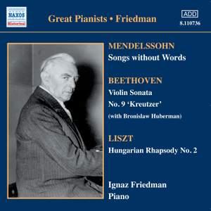 Friedman, Ignaz - Mendelssohn / Beethoven / Liszt Great Pianists - Friedman Vinyl